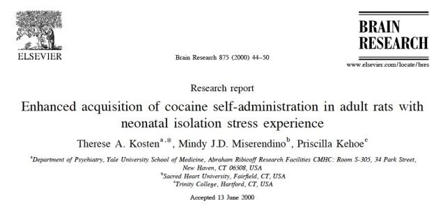 Title. Kosten et al. Brain Res. 2000