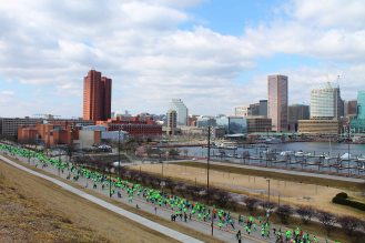 View of the Inner Harbor from Federal Hill-St. Paddy's Day Marathon
