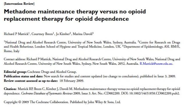 Mattick JP et al. Methaodone. 2009 title